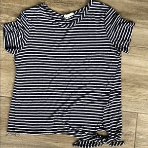 Navy and white striped tshirt with side tie size s